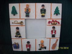Christmas picture frame Marshalls easel stand resin soldier boy nutcracker  #Marshalls