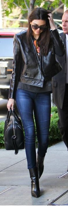 Kendall Jenner: Purse – Givenchy  Shoes – Celine  Jeans – DL1961  Jacket – Camilla and Marc