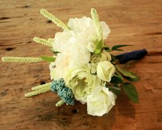 Silk Peony Rustic Wedding Bouquet, White Peony and Roses, Rustic Navy Accent w/ Ivory Sage - Silk Bouquet