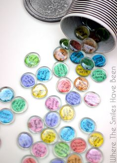 "Conversation Starter Stones and FREE Printable & Silhouette Cut File! | Where The Smiles Have Been.  Here is a great idea to get people talking or an ""ice breaker"" activity!  This would be so fun for date night, or with kids at the dinner table, students, teams, etc.  And it's made with dollar store stones so it's inexpensive too!"