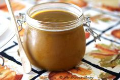 Clean Eating Pumpkin Butter 2 (15 ounce) cans pumpkin puree (NOT pumpkin pie filling) 1 cup apple juice, no sugar added 1 cup honey 1/4 cup pure maple syrup 2 teaspoons molasses 2 tablespoons lemon juice 1 1/2 teaspoons pumpkin spice, no sugar added if purchased Pinch of salt (very small just to enhance the flavor a little) Directions:  Place all ingredients in a small slow cooker and cook on low for 5-6 hours. Allow to cool for a while, pour into storage jars