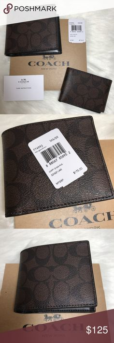 🌸SALE!NWT COACH MEN'S COMPACT ID PVC WALLET Coach  Style number F74993  Retail $175  Mahogany signature C    Measures 4 by 4.5 inches  Pull out ID with three credit card slots License slot 4 more credit card slots  Two billfold compartments Two slip pockets  I personally inspect and wrap all of my Wallets very carefully This is a smoke and pet free environment Comes with all tags attached 💯Authentic bought in a Coach Store.Classy,stylish and fully functional wallet indeed!🌸😊🌸 Coach Bags…
