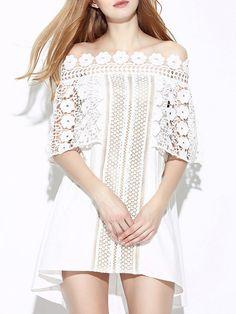 Shop Mini Dresses - Off Shoulder Half Sleeve Cocktail A-line Mini Dress online. Discover unique designers fashion at StyleWe.com.
