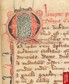 Puzzle initial 'Q'(uia) with penwork decoration and pen-flourishing, at the beginning of Thomas of Erfurt's Summa curiae regis.   Origin:Germany, S.
