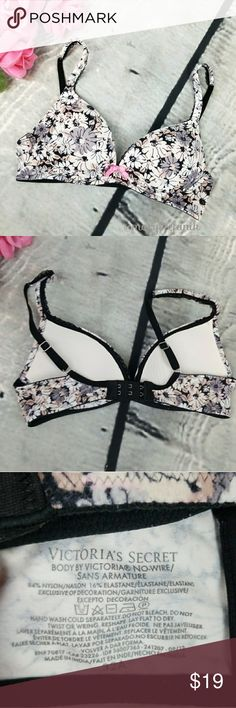 Victoria's Secret Body By Floral No Wire Bra 32A Victoria's Secret Body By Victoria Floral No Wire Bra size 32A in great used condition. Some minor signs of use. Very pretty! Please let me know if you have any questions. Happy Poshing! Victoria's Secret Intimates & Sleepwear Bras
