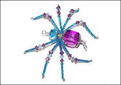 Elizabeth  purple and aqua blue glass beaded spider by llanywynns, $14.00