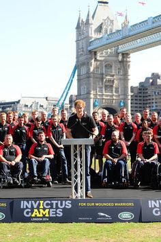 Prince Harry makes a speech as he unveils the British Armed Forces Team For The Invictus Games at Potters Field Park on August 13, 2014