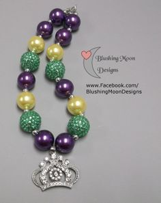 Mardi Gras Green Yellow Purple Rhinestone Crown Bubblegum Necklace             (Matching Bracelet & Headband available)