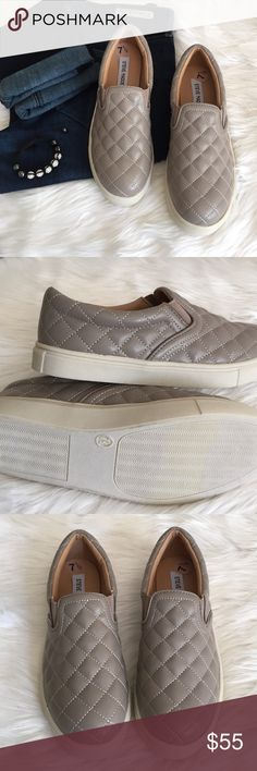 "•Steve Madden Slip-On Sneakers• Show off your fierce attitude with these quilted slip-on sneakers/quilted faux leather upper/rubber outsole/1"" platform/new without box/thanks for lookingcolor:grey(as their manufacturer)                                                               ❌No Trades❌ Steve Madden Shoes Sneakers"
