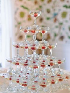 Champagne tower with raspberries: http://www.stylemepretty.com/maryland-weddings/annapolis/2014/01/15/annapolis-garden-wedding/ | Photography: Theresa Choi - http://www.theresachoi.com/