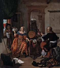 Gabriël Metsu (Dutch Golden Age painter, A Musical Party, Oil on canvas, 24 x 21 in x cm). Metropolitan Museum of Art, New York. On view at The Met Fifth Avenue in Gallery Painting Gallery, Painting Prints, Art Prints, Gabriel Metsu, Dutch Golden Age, European Paintings, Dutch Painters, Dutch Artists, Hieronymus Bosch