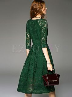 Shop for high quality Fashion V-neck Lace Three Quarters Sleeve Skater Dress online at cheap prices and discover fashion at Ezpopsy.com