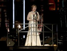 """Patti LuPone performs """"Don't Cry For Me Argentina"""" during a tribute to Leonard Bernstein and Andrew Lloyd Webber at the 60th annual Grammy Awards at Madison Square Garden on Sunday, Jan. 28, 2018, in New York."""