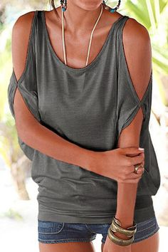Grey Scoop Neck Cold Shoulder Tie-up at Back Tee US$11.95