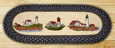 Three Lighthouses Oval Braided Jute Table Runner