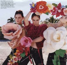 Guinevere van Seenus, Coco Rocha and Dree Hemingway by Bruce Weber; styled by Camilla Nickerson; W magazine May Large Paper Flowers, Giant Paper Flowers, Diy Flowers, Cloth Flowers, Orange Flowers, Dree Hemingway, Bruce Weber, W Magazine, Magazine Editorial