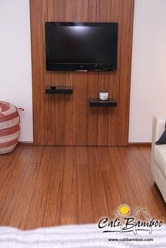 Floor Your Wall With Distressed Mocha Bamboo Flooring From Cali Construction Materials Design