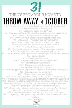 Great list of things at home and in life to declutter in October. 31 items (so one a day!) to get rid of . I can't wait to get started. Household Cleaning Tips, Cleaning Checklist, House Cleaning Tips, Spring Cleaning, Cleaning Hacks, Declutter Your Life, Homemaking, Housekeeping, Clean House