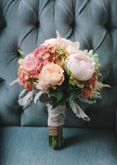 bouquet with peonies - photo by Priscila Valentina http://ruffledblog.com/bohemian-wedding-at-secluded-garden-estate