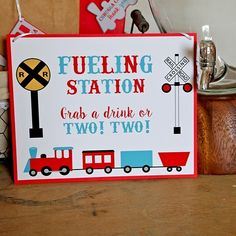This fueling station sign for a train party is so cute! This fueling station sign for a train party is so cute! The post This fueling station sign for a train party is so cute! appeared first on Birthday. Toddler Birthday Themes, 2nd Birthday Boys, Second Birthday Ideas, 3rd Birthday Parties, Fabulous Birthday, Train Party Decorations, 50th Birthday Party Decorations, Thomas The Train Birthday Party, Trains Birthday Party