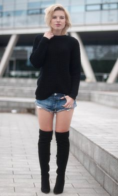 Look OTK: Tricot + short jeans