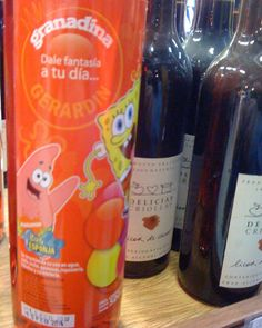 I liked the SpongeBob SquarePants bottle of grenadine in with the wine at a grocery store in Punta del Este, Uruguay. Maybe they want to consider moving it closer to the sodas. 😛
