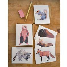 6 North American Animals Cards  by Keiko Brodeur  $9.75