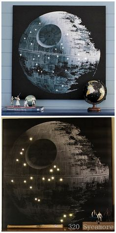 DIY Knockoff Pottery Barn Star Wars Death Star Wall Art from 320 Sycamore here. Best part besides the DIY? A link to a good image of the Death Star. Top Photo: $299 Star Wars Death Star LED Artwork here. Bottom Photo: $15.75 DIY by 320 Sycamore. For lots more Star Wars DIYs go here and for Death Star DIYs including a roundup go here.