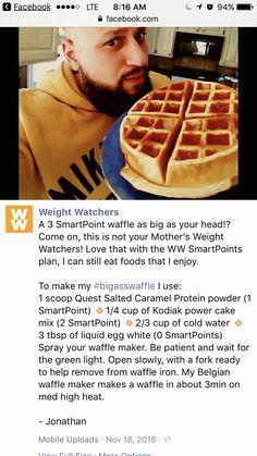 Weight Watchers Breakfast, Weight Watchers Smart Points, Weight Watchers Free, Weight Watchers Desserts, Weight Watchers Waffle Recipe, Ww Desserts, Protein Waffles, Muffins, Kodiak Cakes