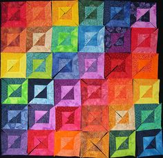 WIP - Layout 1 rainbow quilt under construction. 3d Quilts, Jellyroll Quilts, Baby Quilts, Quilting Tutorials, Quilting Projects, Quilting Designs, Bright Quilts, Colorful Quilts, Optical Illusion Quilts