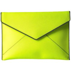 Rebecca Minkoff Leo Clutch (Neon Yellow) ($95) ❤ liked on Polyvore featuring bags, handbags, clutches, rebecca minkoff purse, neon yellow clutches, rebecca minkoff, yellow handbags and rebecca minkoff handbags