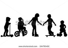 Active kids silhouettes - stock vector