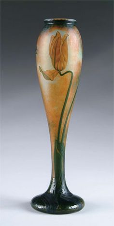 Cameo glass vase with enamel decoration by Daum. http://www.palaceofglass.com/resources/daum