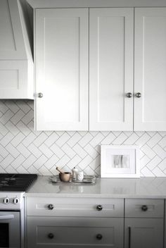 White Kitchen Herringbone Backsplash herringbone tile backsplash | cool kitchens | pinterest