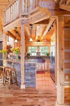 Log beam tchen decor Wood Slate Country rustic Neat idea for opening up kitchen wall