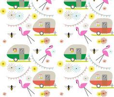 Vintage Trailers Pink Flamingos fabric by jills_cloth_shop on Spoonflower - custom fabric