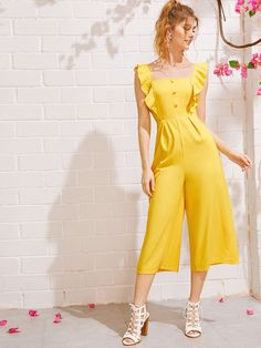 Us Ruffle Jumpsuit Romper Women Sleeveless Yellow Bodysuits Casual Clubwear Backless Playsuits Long Trousers Backless Playsuit, Ruffle Jumpsuit, Yellow Jumpsuit, Strapless Jumpsuit, Striped Jumpsuit, Pant Jumpsuit, Look Office, Long Cocktail Dress, Maxi Dresses