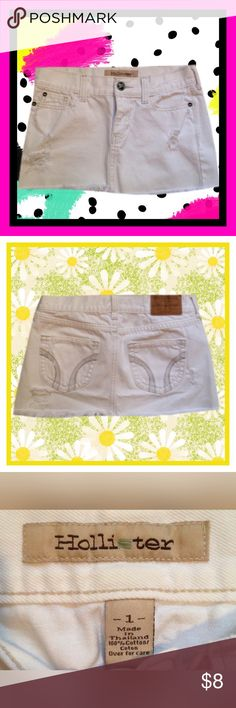 HOLLISTER White Jean Skirt Gently used HOLLISTER white jean skirt; Size 1   *****BUNDLE AND SAVE ***** Hollister Skirts