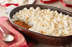 Sweet Potato, Pumpkin & Coconut Pudding  2 c  mashed sweet potatoes  1 can (15 oz.) pumpkin  1/2 c  flour  1/4 c  sugar  2 tsp.  ground cinnamon  3/4 tsp.  ground cloves  4  eggs  1 c   canned unsweetened coconut milk  3 c Miniature Marshmallows  1/4 c  FLAKE Coconut, toasted