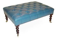 One Kings Lane - Coveted Classics - Signature Buttoned Stool, Blue