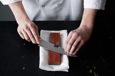 By Mark Schwartz The world's sharpest knives belong to newlyweds.  Then, be sure to clean the knife with a damp towel to remove any excess metal or grit.