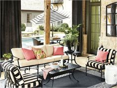 black and white stripes striped cushions with pink outdoor pillows. ballard designs patio furniture