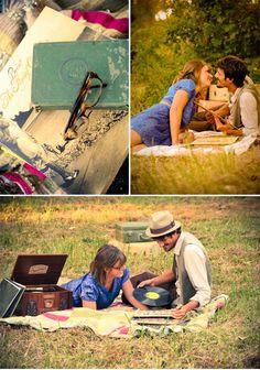Vintage style picnic engagement photos