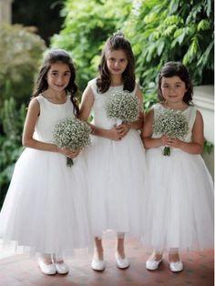 98dc94964c Cheap Popular Popular Tulle Scoop Neckline Ankle-length A-line Flower Girl  Dresses