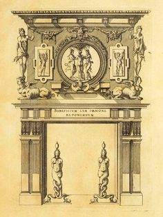 Design for a fireplace, France
