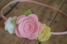 Girls Flower Headband  Trio of Roses  Pink White and by bloomz, $8.25