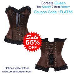 Brown Corset Dress, Overbust Brown, Brown Lace Corset Dress
