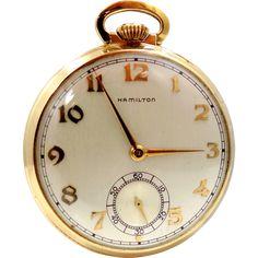Vintage 14k Gold Hamilton Pocket Watch Model 917 17 Jewels Lukens Steel Co.