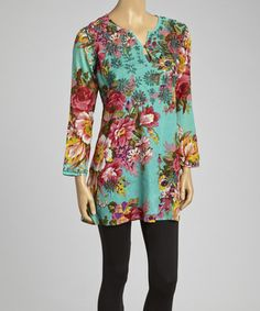 Look what I found on #zulily! Turquoise & Pink Floral Embroidered Tunic - Women by Sol Clothing #zulilyfinds