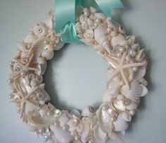 Beach Decor Seashell Wreath - Shell Wreath w All White Shells, Starfish & Pearls